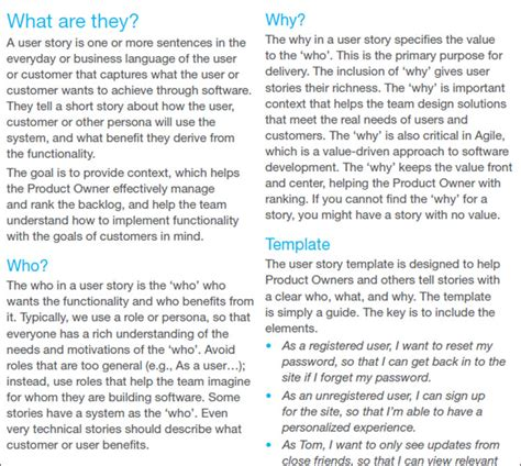 user story templates free word pdf documents creative