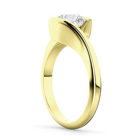 Tension Set Engagement Rings by Tension Set Solitaire Engagement Ring 14k Yellow