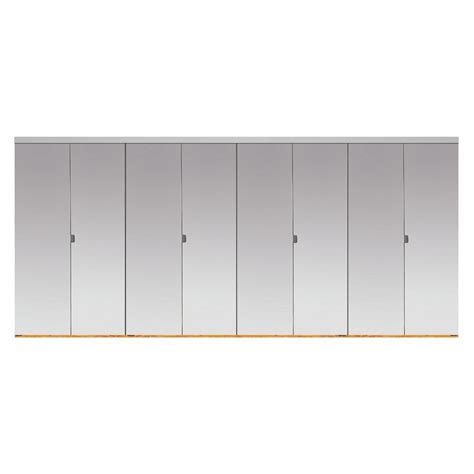 Beveled Mirror Closet Doors Impact Plus 120 In X 80 In Beveled Edge Mirror Solid Mdf Interior Closet Bi Fold Door