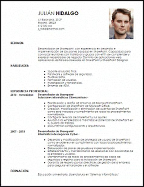 Modelo De Curriculum Vitae No Documentado 2014 Modelo Curriculum Vitae Desarrollador De Sharepoint Livecareer