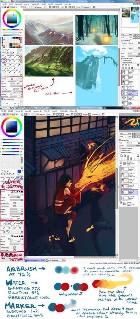 paint tool sai or firealpaca sai brush settings and their exles by qinni deviantart