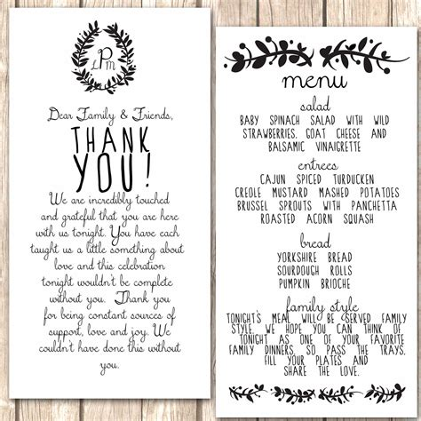 thank you letter to for dinner whimsical menu and thank you card for wedding by vivalalovely