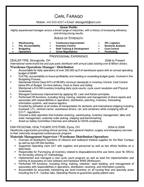 warehouse supervisor resume sles warehouse operations manager resume best template collection