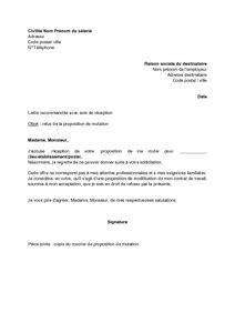 Exemple De Lettre De Motivation Mutation lettre de refus par le salari 233 de la proposition de mutation mod 232 le de lettre gratuit