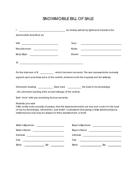 snowmobile bill of sale free snowmobile bill of sale form pdf docx