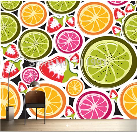 Bedroom Wall Painting Ideas free shipping custom 3d funky fruits food wall mural