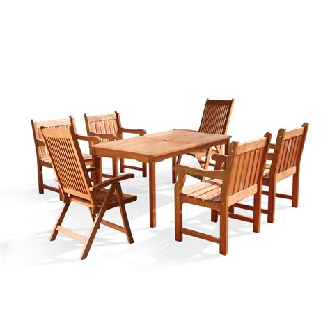 Vifah Roch Eucalyptus 7 Piece Patio Dining Set With 4 Slat Patio Dining Sets For 4