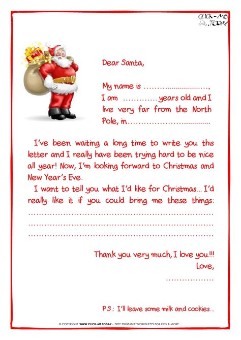 printable template to write a letter to santa printable sle letter to santa claus with ps santa