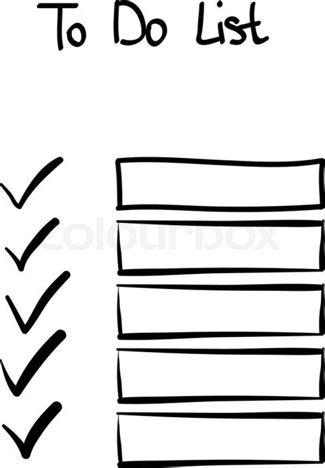 doodle to do list doodle to do checklist tick no signs stock