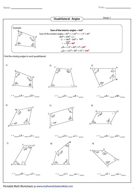 Quadrilaterals Worksheet by Quadrilateral Worksheets