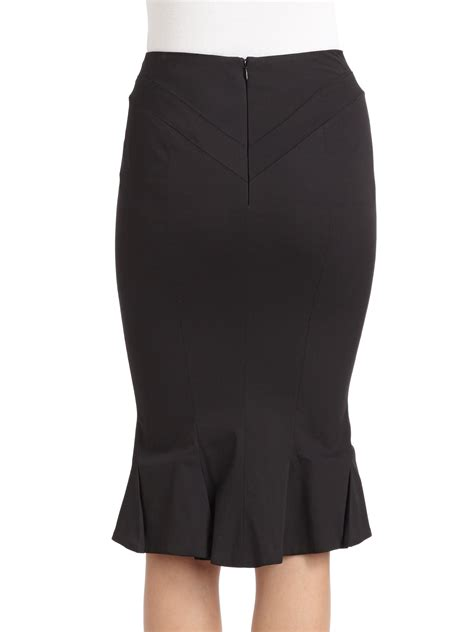 zac posen ruffle back pencil skirt in black lyst