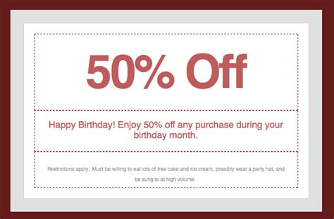 template promo code using autoresponders for birthday messages