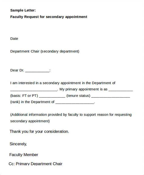 appointment request letter template 9 sle appointment request letter free sle