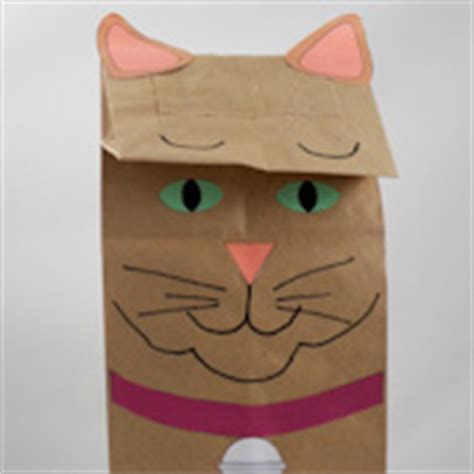 Paper Bag Cat Craft - how to make paper bag puppets cat and owl puppets