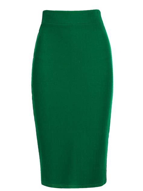 plain slit pencil midi skirt fashionmia