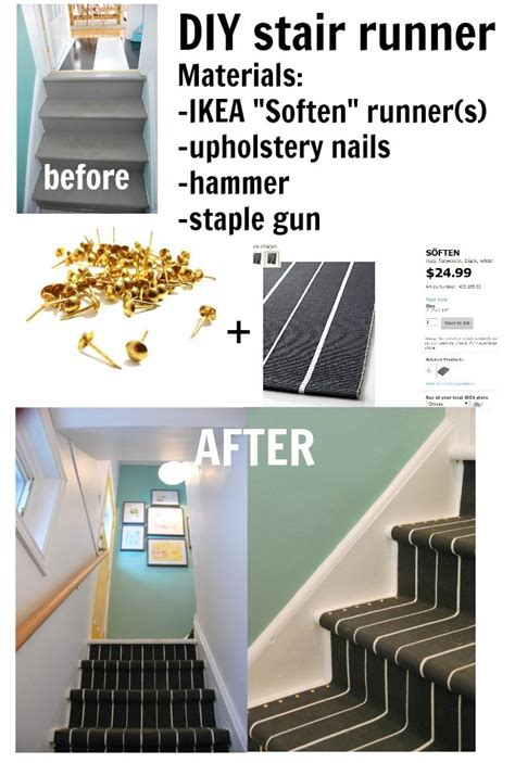 ikea rug mat stair tread diy on our little stairs this would be a piece of cake for the diy stair runner how to install a diy stair runner with