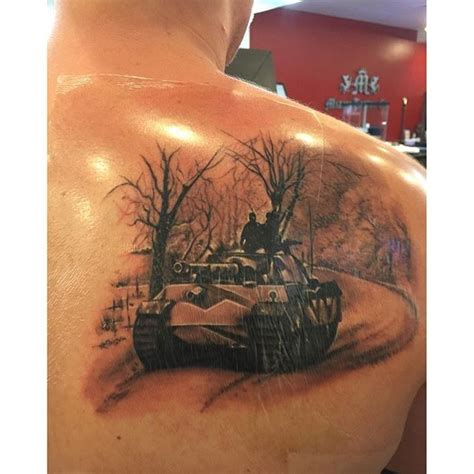 tank tattoo realistic looking colored scapular of german ww2