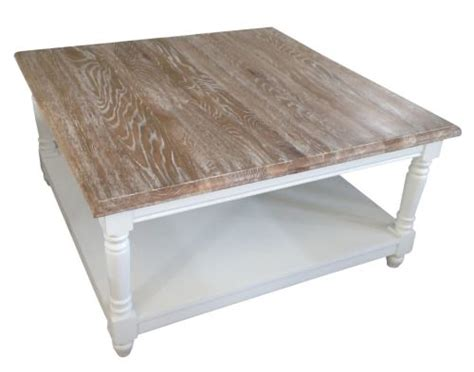 French Chateau White Square Oak Coffee Table With Washed White Washed Coffee Table