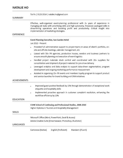 event coordinator resume exle hospitality 28 images event planning assistant resume sales
