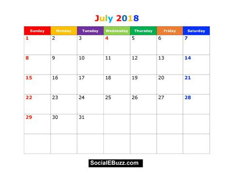 calendar template july 2018 july 2018 calendar printable template with holidays pdf usa uk