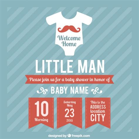 baby boy shower card template baby shower card template for boy vector free
