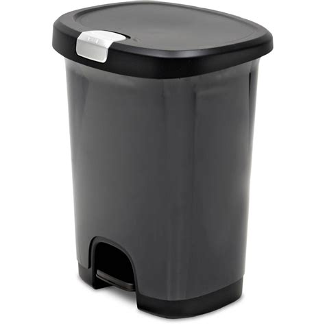 Kitchen Waste Containers by Hefty Step On 13 Gallon Trash Can Black Walmart