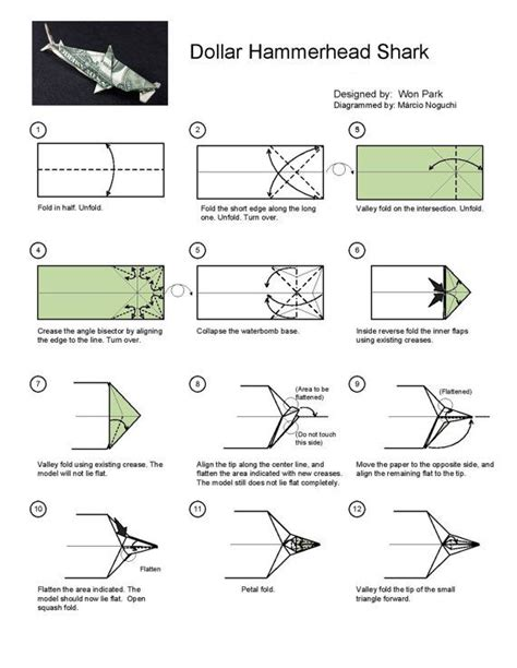 Dollar Origami Shark - hammerhead shark diagram 1 of 2 money dollar origami