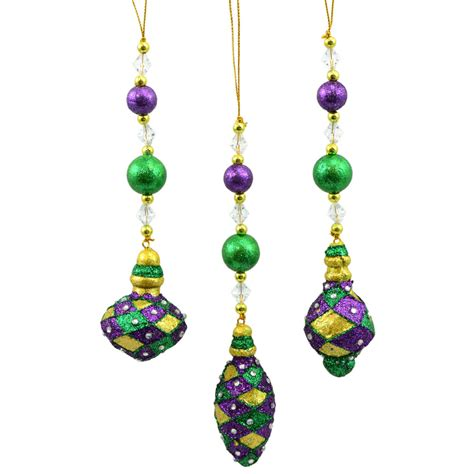 assorted mardi gras glitter finial ornaments set of 3