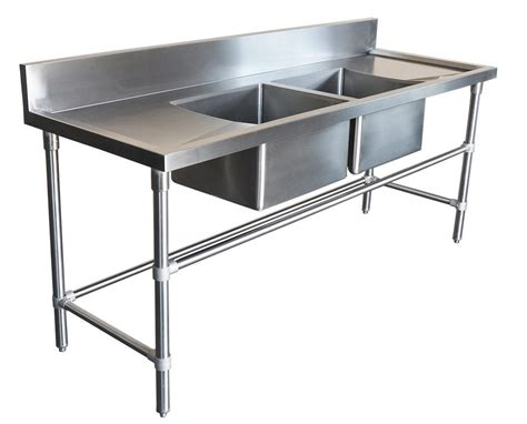 stainless steel bench with sink 1900x600mm commercial double middle bowl kitchen sink