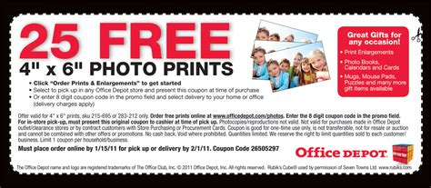 Office Depot Business Account Coupons 25 Free 4 215 6 Prints From Office Depot Nickels N Dimes