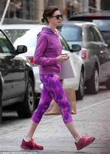 kroger commercial actress anne hathaway wears purple workout gear in brooklyn