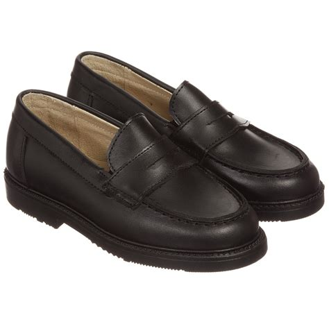 black leather loafer shoes children s classics boys black leather loafer shoes