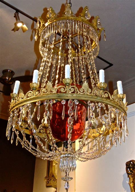 Russian Neoclassical Chandelier With A Cranberry Glass Neoclassical Chandeliers