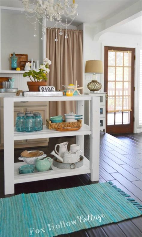 get ready for fall entertaining with kitchen island lights diy white wood cottage kitchen island turquoise vintage