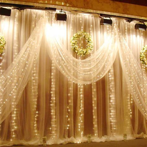 Excelvan 3mx3m 300led String Light Curtain Light Warm Curtain Of Lights