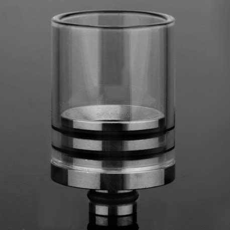 34mm stainless steel glass transparent 510 wide bore drip tip