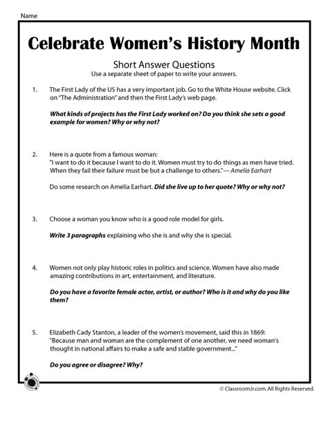 printable quiz about black history women s history month essay questions woo jr kids