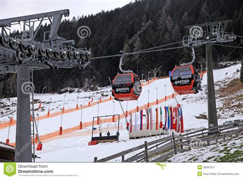 Ski Lift Lodge And Cabins by Cabin Ski Lift Bad Gastein Austria Editorial Photo