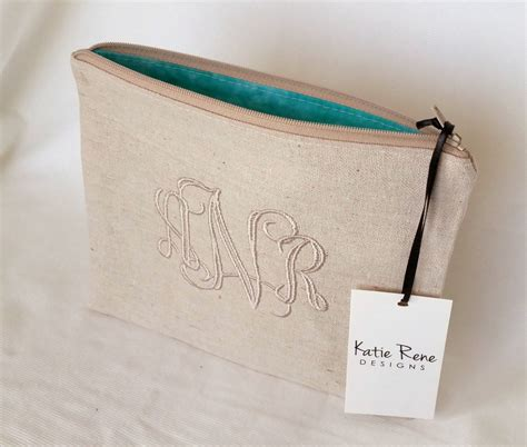 Personalized Pouch monogram makeup bag personalized zipper pouch