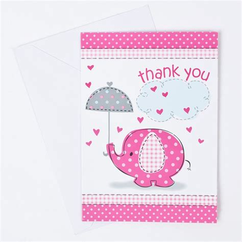 Thank You Cards For Baby Shower What To Write by Elephant Print Baby Shower Thank You Cards Pink