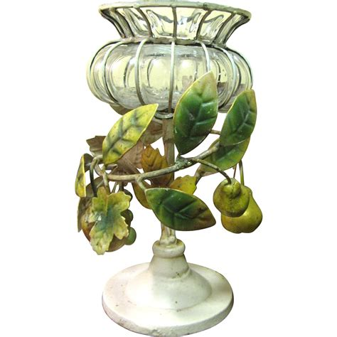 Organic Tole Centerpiece Fruits Leaves Blown Glass Chagne Glass Centerpiece
