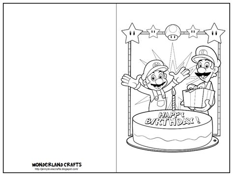 brithday card coloring page template crafts birthday cards