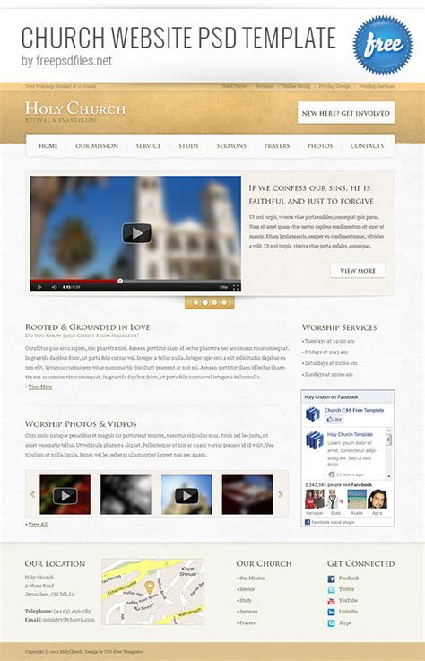 church website psd template free psd files