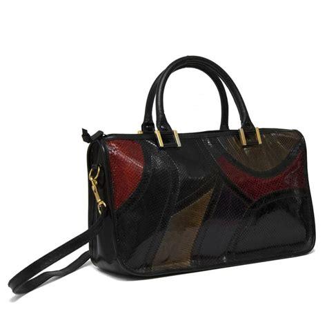 Patchwork Handbag - 1970 s multi colored patchwork handbag for sale at