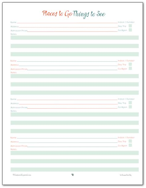 printable daily vacation planner vacation planner printables