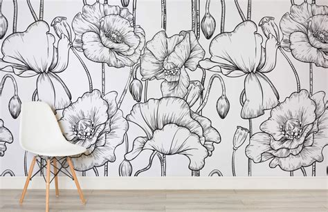 black and white wallpaper murals uk wallflowers art mural wallpaper erika brechtel