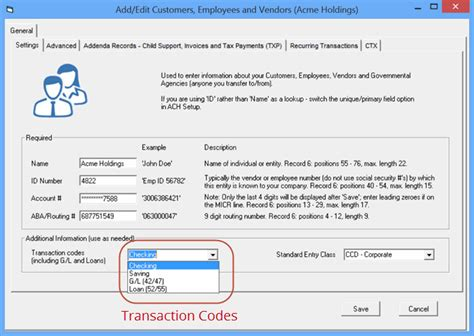 bank ach code ach transaction codes create transactions with any code
