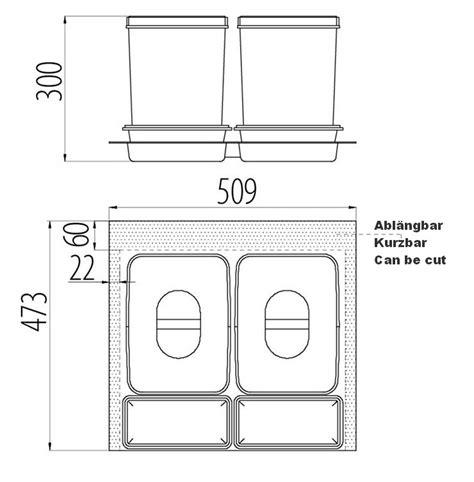 schubladen trennsystem trennsystem f 252 r schubladen mit 2x15l sammler und 2