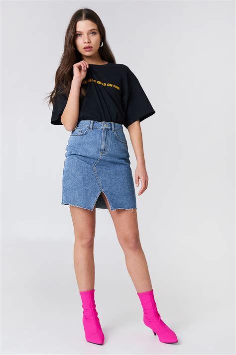 19900 Denim Slit Skirt high front slit denim skirt na kd