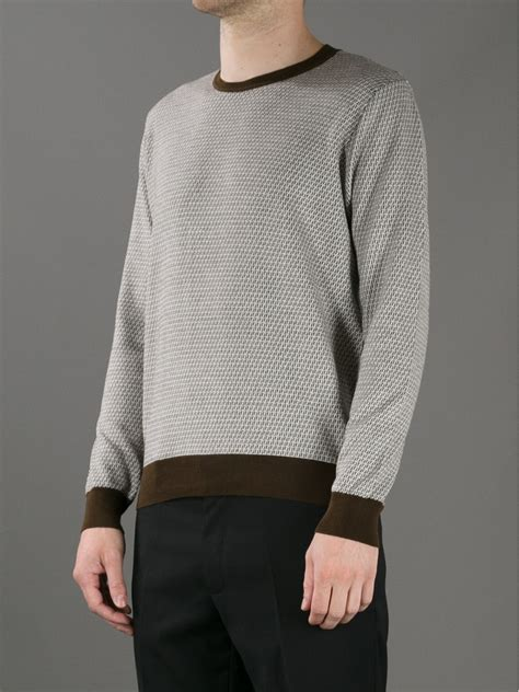 Fendi Sweater lyst fendi monogram print sweater in brown for